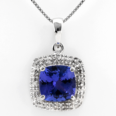 ALLURING 2.45 CARAT GENUINE TANZANITE & 20PCS GENUINE DIAMONDS 14K SOLID WHITE GOLD PENDANT