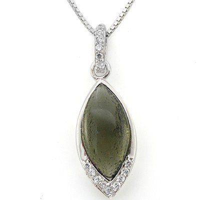 CAPTIVATING GREEN CREATED GEMSTONE 0.925 STERLING SILVER W/ PLATINUM PENDANT