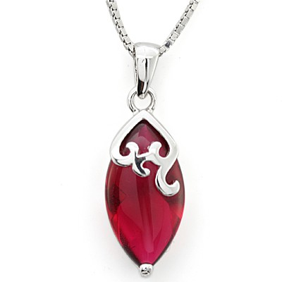 FASCINATING & LOVELY CREATED GEMSTONE 0.925 STERLING SILVER W/ PLATINUM PENDANT