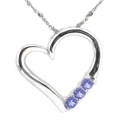 EXCELLENT 0.12 CARAT TW GENUINE TANZANITE & GENUINE DIAMOND PLATINUM OVER 0.925 STERLING SILVER PENDANT