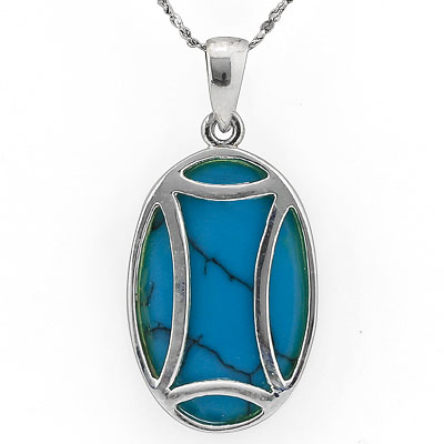 CAPTIVATING 0 CARAT TW (1 PCS) BLUE TURQUOISE WHITE GERMAN SILVER PENDANT
