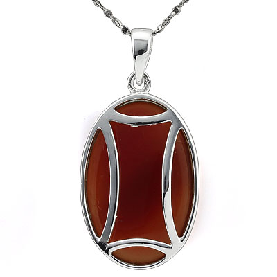 CHARMING RED AGATE WHITE GERMAN SILVER PENDANT