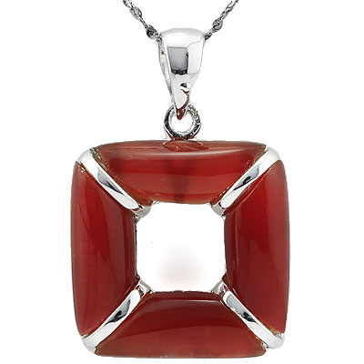 CAPTIVATING RED AGATE WHITE GERMAN SILVER PENDANT