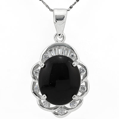 EXCLUSIVE BLACK JADE & WHITE SWAROVSKI CRYSTAL WHITE GERMAN SILVER PENDANT