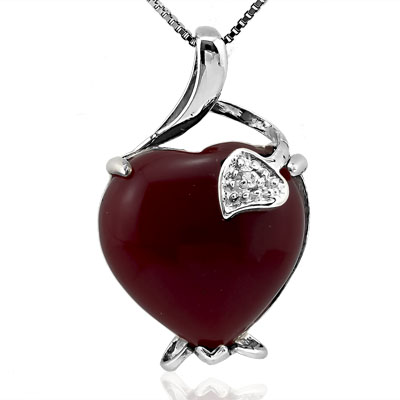 GREAT 0 CARAT TW (2 PCS) RED AGATE & WHITE SWAROVSKI CRYSTAL WHITE GERMAN SILVER PENDANT