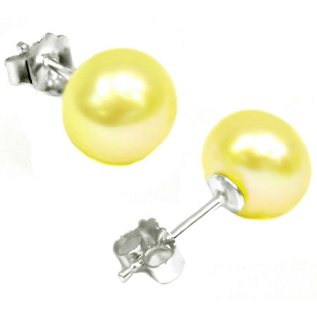 ELEGANT 3.32 CT GOLDEN YELLOW PEARL 0.925 STERLING SILVER EARRINGS