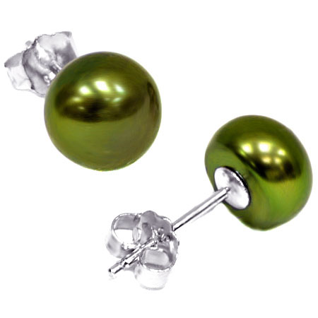 LOVELY 3.32 CT METAL GREEN PEARL 0.925 STERLING SILVER EARRINGS