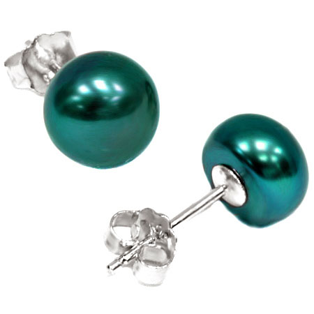 LOVELY 3.32 CT METALLIC GREEN BLUE PEARL 0.925 STERLING SILVER EARRINGS