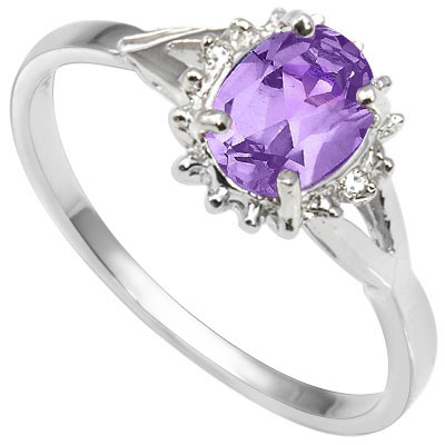 ELEGANT 0.51 CARAT AMETHYST WITH DOUBLE GENUINE DIAMONDS PLATINUM OVER 0.925 STERLING SILVER RING