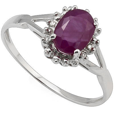LOVELY 0.60 CARAT GENUINE RUBY WITH DOUBLE GENUINE DIAMONDS PLATINUM OVER 0.925 STERLING SILVER RING
