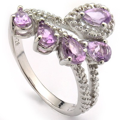 GORGEOUS 1.12 CT AMETHYST & 2 PCS WHITE DIAMOND 0.925 STERLING SILVER W/ PLATINUM RING