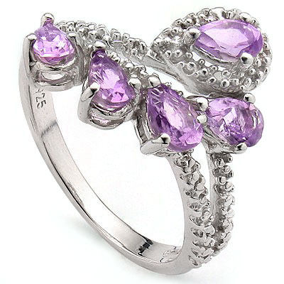 GORGEOUS 1.12 CT AMETHYST WITH DOUBLE GENUINE DIAMONDS 0.925 STERLING SILVER W/ PLATINUM RING