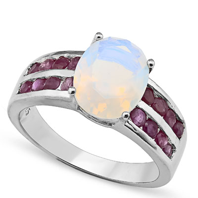 BEAUTIFUL 4.00 CT CREATED FIRE OPAL & 16 PCS GENUINE RUBY 0.925 STERLING SILVER W/ PLATINUM RING