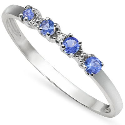 DAZZLING 0.17 CARAT GENUINE TANZANITE WITH GENUINE DIAMOND PLATINUM OVER 0.925 STERLING SILVER RING