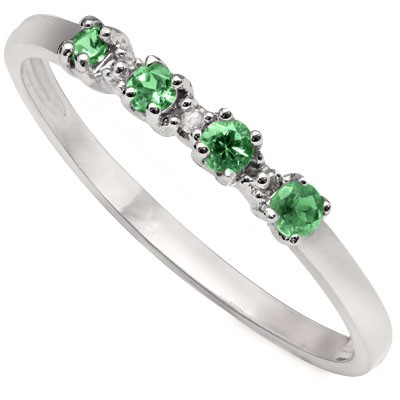 ASTONISHING 0.16 CARAT GENUINE EMERALD WITH GENUINE DIAMOND PLATINUM OVER 0.925 STERLING SILVER RING