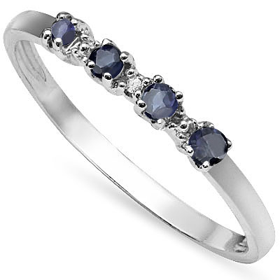 CAPTIVATING 0.26 CARAT TW (5 PCS) GENUINE SAPPHIRE & GENUINE DIAMOND PLATINUM OVER 0.925 STERLING SILVER RING
