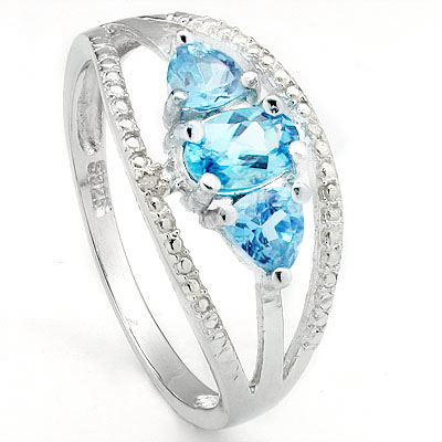 DAZZLING 1.21 CARAT BLUE TOPAZ WITH DOUBLE GENUINE DIAMONDS PLATINUM OVER 0.925 STERLING SILVER RING