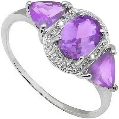 EXCLUSIVE 0.45 CT AMETHYST WITH DOUBLE GENUINE DIAMONDS PLATINUM OVER 0.925 STERLING SILVER RING