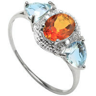 SPARKLING 1.10 CARAT TW AZOTIC GEMSTONE & BLUE TOPAZ PLATINUM OVER 0.925 STERLING SILVER RING