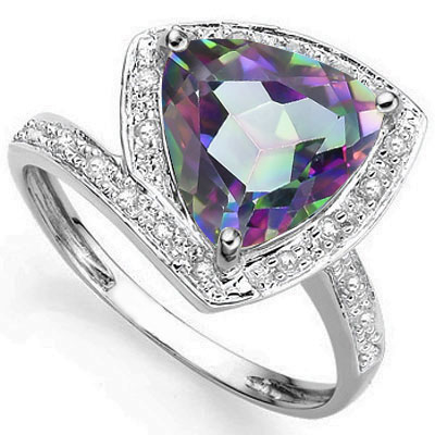 PERFECT 3.16 CARAT MYSTIC GEMSTONE WITH DOUBLE GENUINE DIAMONDS PLATINUM OVER 0.925 STERLING SILVER RING