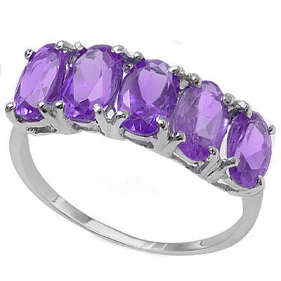 PRECIOUS 2.05 CARAT TW (5 PCS) AMETHYST PLATINUM OVER 0.925 STERLING SILVER RING