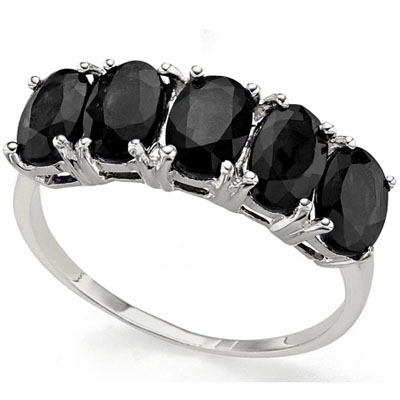 PRICELESS 3.15 CARAT GENUINE BLACK SAPPHIRE PLATINUM OVER 0.925 STERLING SILVER RING