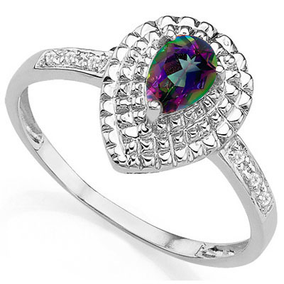 EXCELLENT 0.33 CARAT MYSTIC GEMSTONE & DOUBLE GENUINE DIAMONDS PLATINUM OVER 0.925 STERLING SILVER RING