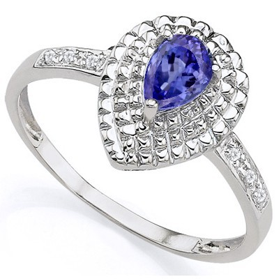 SPECTACULAR 0.38 CARAT GENUINE TANZANITE WITH DOUBLE GENUINE DIAMONDS PLATINUM OVER 0.925 STERLING SILVER RING