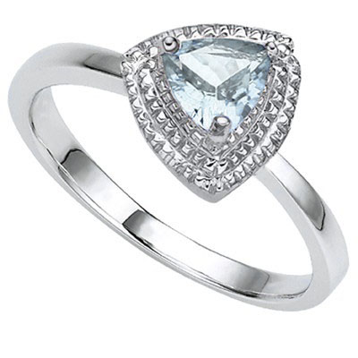 SMASHING 0.64 CARAT AQUAMARINE WITH DOUBLE GENUINE DIAMONDS PLATINUM OVER 0.925 STERLING SILVER RING