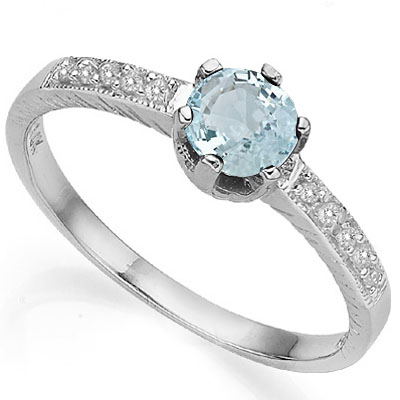 ELEGANT 0.40 CT AQUAMARINE WITH DOUBLE GENUINE DIAMONDS 0.925 STERLING SILVER W/ PLATINUM RING