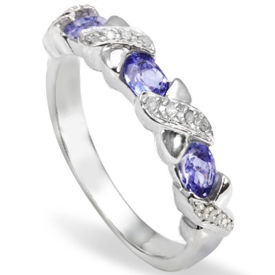 MAGNIFICENT 0.46 CARAT TW (5 PCS) GENUINE TANZANITE & GENUINE DIAMOND PLATINUM OVER 0.925 STERLING SILVER RING