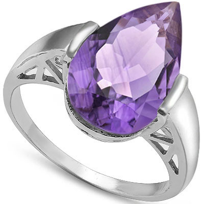 SMASHING 0.9 CARAT TW (18 PCS) AMETHYST PLATINUM OVER 0.925 STERLING SILVER RING