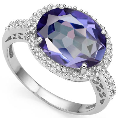 ELEGANT 4.50 CT VIOLET MYSTIC GEMSTONE WITH DOUBLE GENUINE DIAMONDS PLATINUM OVER 0.925 STERLING SILVER RING
