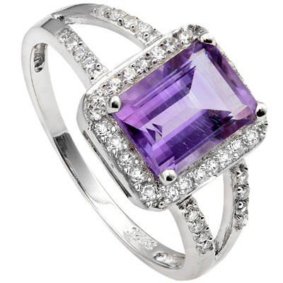 LOVELY 1.30 CT AMETHYST WITH 28PCS CUBIC ZIRCONIA PLATINUM OVER 0.925 STERLING SILVER RING