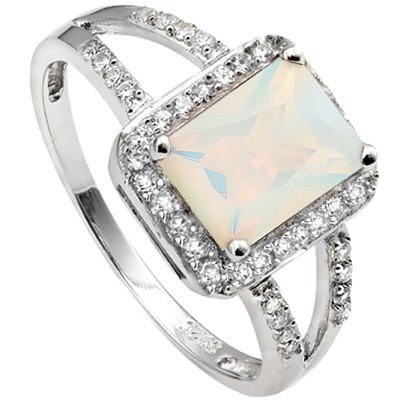 GORGEOUS 1.45 CT LAB OPAL & 28 PCS CREATED WHITE SAPPHIRE 0.925 STERLING SILVER W/ PLATINUM RING