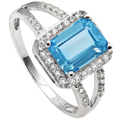 EXCLUSIVE 1.45 CT BLUE TOPAZ & 28 PCS WHITE SAPPHIRE  0.925 STERLING SILVER W/ PLATINUM RING