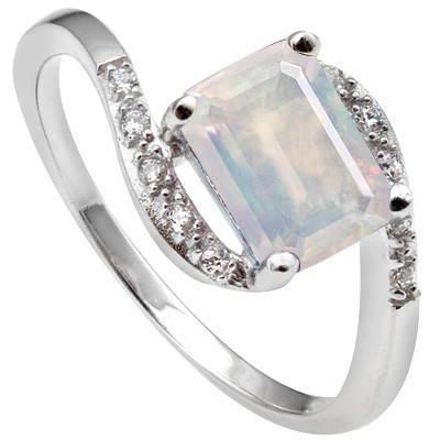 HANDSOME 1.45 CT MOONLIGHT OPAL 6 PCS CREATED WHITE SAPPHIRE 0.925 STERLING SILVER W/ PLATINUM RING
