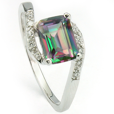 EXCLUSIVE 1.55 CARAT MYSTIC GEMSTONE & CREATED WHITE SAPPHIRE PLATINUM OVER 0.925 STERLING SILVER RING