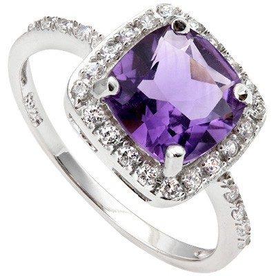SPECTACULAR 1.31 CT AMETHYST & 24 PCS CREATED WHITE SAPPHIRE 0.925 STERLING SILVER W/ PLATINUM RING