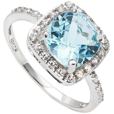 REFRESHING 1.31 CT SKY BLUE TOPAZ & 24 PCS CREATED WHITE SAPPHIRE 0.925 STERLING SILVER W/ PLATINUM RING