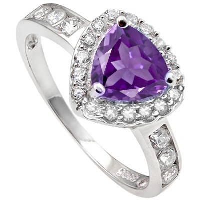REMARKABLE 1.46 CT AMETHYST & 6 PCS CREATED WHITE SAPPHIRE 0.925 STERLING SILVER W/ PLATINUM RING