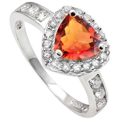 CAPTIVATING 1.46 CARAT AZOTIC GEMSTONE & CUBIC ZIRCONIA PLATINUM OVER 0.925 STERLING SILVER RING