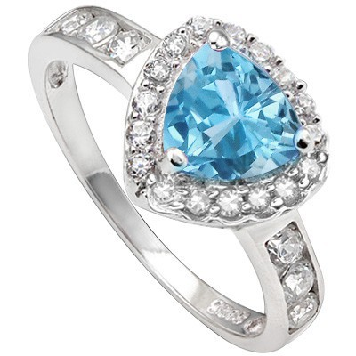 GRACEFUL 1.5 CT BLUE TOPAZ & 6 PCS CREATED WHITE SAPPHIRE 0.925 STERLING SILVER W/ PLATINUM RING