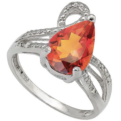 MARVELOUS 1.75 CARAT AZOTIC GEMSTONE & DOUBLE GENUINE DIAMONDS PLATINUM OVER 0.925 STERLING SILVER RING