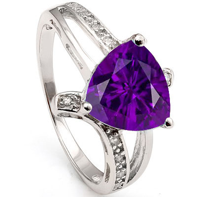 GREAT 1.55 CARAT AMETHYST & CUBIC ZIRCONIA PLATINUM OVER 0.925 STERLING SILVER RING