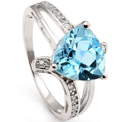 AMAZING 3.05 CT BLUE TOPAZ 10 PCS CREATED WHITE SAPPHIRE 0.925 STERLING SILVER W/ PLATINUM RING