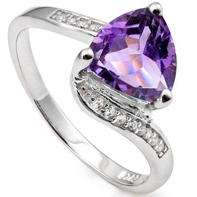 DELICATE 1.46 CT AMETHYST & 12 PCS CREATED WHITE SAPPHIRE 0.925 STERLING SILVER W/ PLATINUM RING