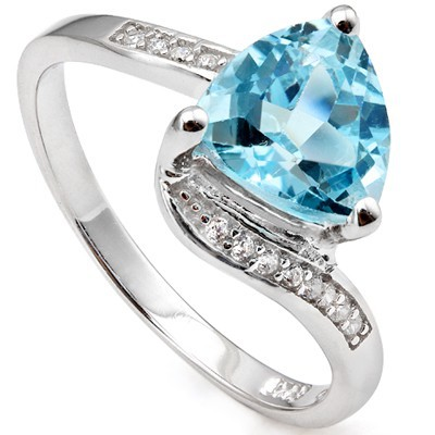 DISTINCTIVE 2 CT SKY BLUE TOPAZ & 12 PCS CREATED WHITE SAPPHIRE 0.925 STERLING SILVER W/ PLATINUM RING