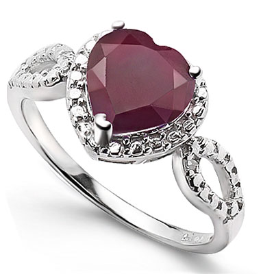 BRILLIANT 2.00 CT RUBY WITH DOUBLE GENUINE DIAMONDS PLATINUM OVER 0.925 STERLING SILVER RING