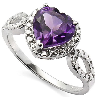 LOVELY 1.5 CARAT AMETHYST & DOUBLE GENUINE DIAMONDS PLATINUM OVER 0.925 STERLING SILVER RING